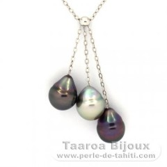 Rhodiated Sterling Silver Necklace and 3 Tahitian Pearls Ringed B  8.8 to 8.9 mm