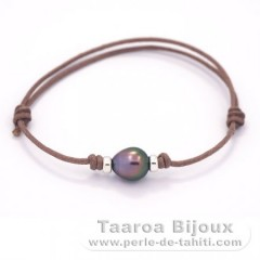 Waxed Cotton Bracelet and 1 Tahitian Pearl Semi-Baroque B 8 mm