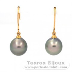 18K solid Gold Earrings and 2 Tahitian Pearls Semi-Baroque A/B 9.7 mm
