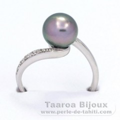 Rhodiated Sterling Silver Ring and 1 Tahitian Pearl Round C 8.3 mm