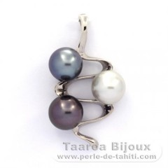 Rhodiated Sterling Silver Pendant and 3 Tahitian Pearls Near-Round C 9 mm