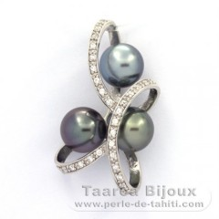Rhodiated Sterling Silver Pendant and 3 Tahitian Pearls Round C  8.7 to 8.9 mm