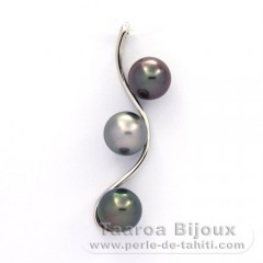 Rhodiated Sterling Silver Pendant and 3 Tahitian Pearls Round C  8 to 8.1 mm