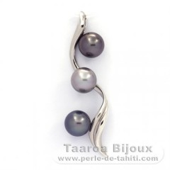 Rhodiated Sterling Silver Pendant and 3 Tahitian Pearls Round C  9.2 to 9.3 mm