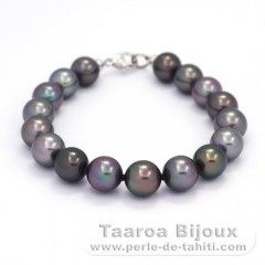 Bracelet with 17 Tahitian Pearls Near-Round B  9 to 9.4 mm and 18K Solid White Gold