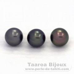 Lot of 3 Tahitian Pearls Near-Round C from 8.8 to 8.9 mm