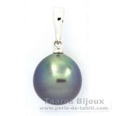 18K Solid White Gold Pendant and 1 Tahitian Pearl Semi-Baroque B 10.1 mm