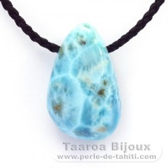 Cotton Necklace and 1 Larimar - 38 x 23 x 18 mm - 26.3 gr
