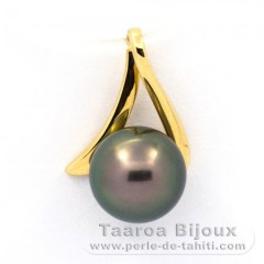 18K solid Gold Pendant and 1 Tahitian Pearl Round B 8.2 mm
