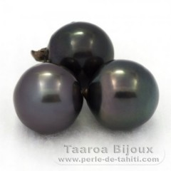 Lot of 3 Tahiti Pearls Semi-Baroque D from 11.5 to 11.8 mm