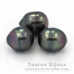 Lot of 3 Tahiti Pearls Ringed B from 9.2 to 9.7 mm