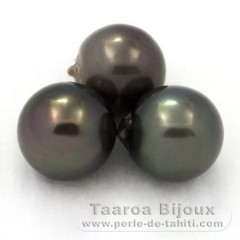 Lot of 3 Tahiti Pearls Semi-Baroque D from 12.5 to 12.7 mm