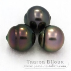 Lot of 3 Tahiti Pearls Semi-Baroque B from 10.4 to 10.7 mm