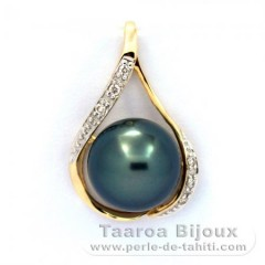 14k Gold Pendant + 6 diamonds 0.04 carats VS1 and 1 Tahitian Pearl Round B 10.4 mm