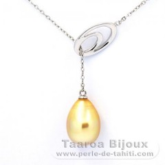 Rhodiated Sterling Silver Necklace and 1 Australian Pearl Semi-Baroque C 10.1 mm