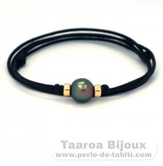 Cotton Necklace and 1 Tahitian Pearl Semi-Baroque B 11.5 mm