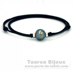 Cotton Necklace and 1 Tahitian Pearl Semi-Baroque C 12.5 mm
