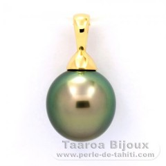 18K solid Gold Pendant and 1 Tahitian Pearl Semi-Baroque A 10 mm