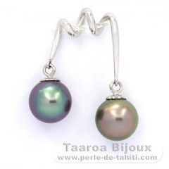 Rhodiated Sterling Silver Pendant and 2 Tahitian Pearls Round C 9.2 mm