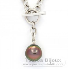 Rhodiated Sterling Silver Bracelet and 1 Tahitian Pearl Semi-Baroque B 10.5 mm