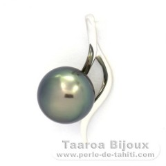 18K Solid White Gold Pendant and 1 Tahitian Pearl Round B 8.9 mm