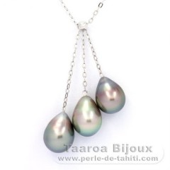 Rhodiated Sterling Silver Necklace and 3 Tahitian Pearls Semi-Baroque B 9.1 to 9.4 mm