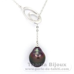 Rhodiated Sterling Silver Necklace and 1 Tahitian Pearl Semi-Baroque A 10.3 mm