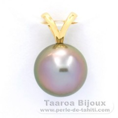 18K solid Gold Pendant and 1 Tahitian Pearl Round B 9.9 mm