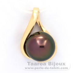 Gold 14k Pendant and 1 Tahitian Pearl Round B 9 mm