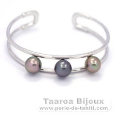 Rhodiated Sterling Silver Bracelet and 3 Tahitian Pearls Semi-Round B 9 mm