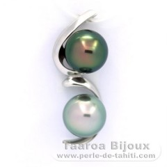 Rhodiated Sterling Silver Pendant and 2 Tahitian Pearls Semi-Baroque B 10 mm