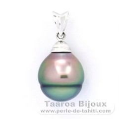 Rhodiated Sterling Silver Pendant and 1 Tahitian Pearl Ringed C 11.4 mm