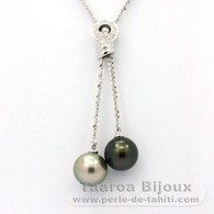 .925 Solid Silver Chain and 2 Tahitian Pearls Round C 11.2 mm