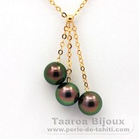 18K solid Gold Chain and 3 Tahitian Pearls Round A+ from 8.5 to 8.8 mm