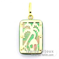 18K Gold and Tahitian Mother-of-Pearl Pendant - Dimensions = 18 X 12 mm - Island