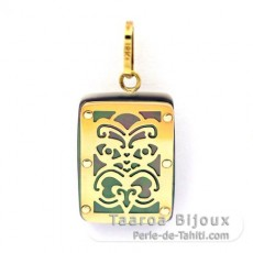 18K Gold and Tahitian Mother-of-Pearl Pendant - Dimensions = 18 X 12 mm - Virility