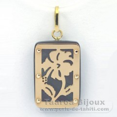 18K Gold and Tahitian Mother-of-Pearl Pendant - Dimensions = 18 X 12 mm - Hibiscus