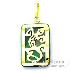18K Gold and Tahitian Mother-of-Pearl Pendant - Dimensions = 18 X 12 mm - Gecko