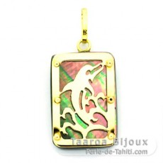 18K Gold and Tahitian Mother-of-Pearl Pendant - Dimensions = 18 X 12 mm - Dolphin