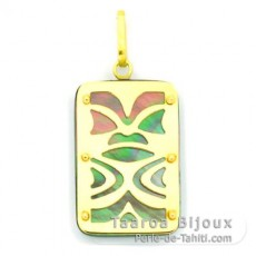 18K Gold and Tahitian Mother-of-Pearl Pendant - Dimensions = 24 X 16 mm - Luck