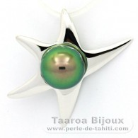 18K Solid White Gold Pendant and 1 Tahitian Pearl Round B+ 8.9 mm
