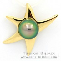 18K solid Gold Pendant and 1 Tahitian Pearl Round B+ 9 mm