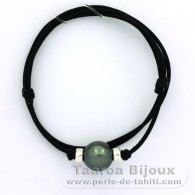 Waxed cotton Necklace and 1 tahitian Pearl Round C 12.7 mm