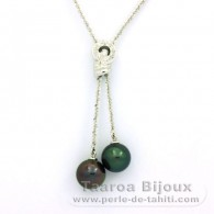 .925 Solid Silver Necklace and 2 Tahitian Pearls Round C+ 10.7 mm