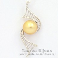 Rhodiated Sterling Silver Pendant and 1 Australian Pearl Round C 10.8 mm