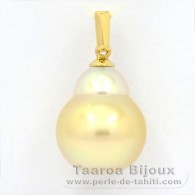 18K solid Gold Pendant and 1 Australian Pearl Semi-Baroque B 12.3 mm