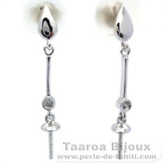 Earrings for pearls from 8 to 10.5 mm - Silver .925 - Settings for pearls