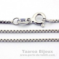 Rhodiated Sterling Silver Chain - Length = 40 cm - 16'' / Diameter = 0.8 mm