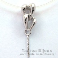.925 Solid Silver + Rhodium Pendant for 1 Pearl from 9 to 12 mm - Setting for pearls