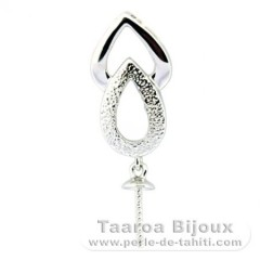 .925 Solid Silver + Rhodium Pendant for 1 Pearl from 10 to 14 mm - Setting for pearls